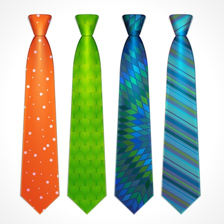 Set of elegant neckties of different colors
