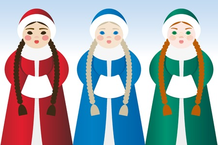 coupling: Three beautiful girls in traditional Slavic winter clothes Illustration