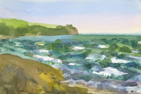 Watercolor sketch from nature landscape with sea waves Stock Photo