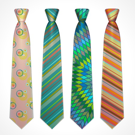 Vector set of elegant neckties of different colors
