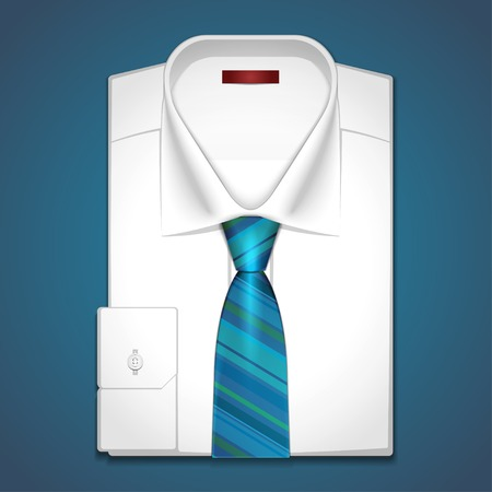 Vector classic white shirt with striped tie
