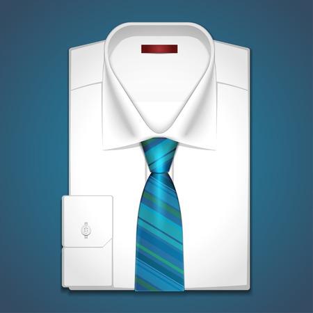 camicia bianca: Vector classica camicia bianca con cravatta a righe