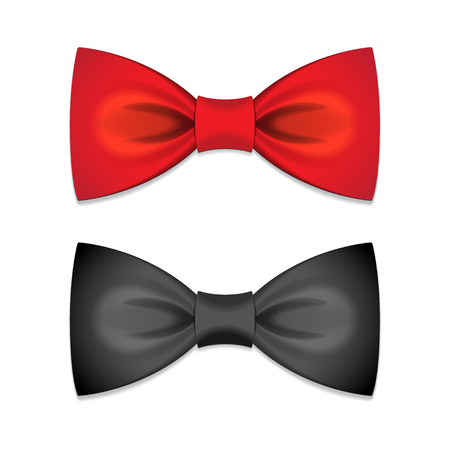 neck tie: Vector set of red and black bow ties