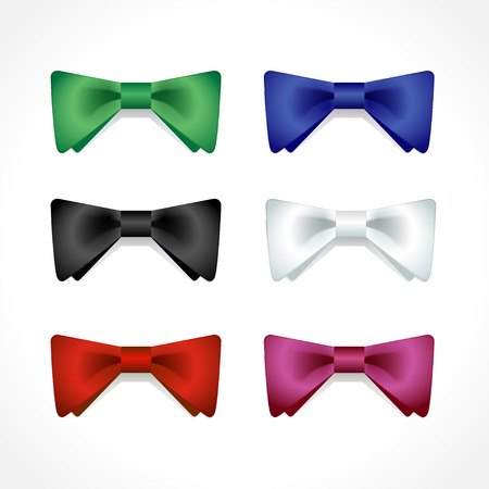 Vector set of isolated multi-colored bow ties