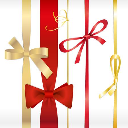 ribbons vector: Vector set of red and gold bows ribbons