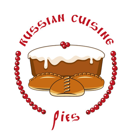 ruddy: Vector stylized image of pies. Russian cuisine