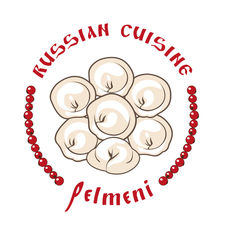 Vector stylized image of ravioli. Russian cuisine