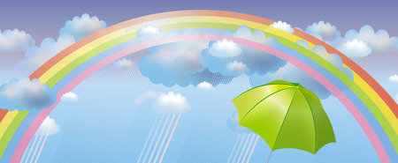 Vector background with clouds, rain and rainbow Vector
