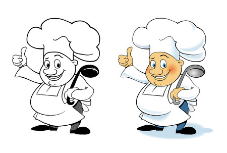 ladle: Set Vector cartoon character cook with a ladle Illustration