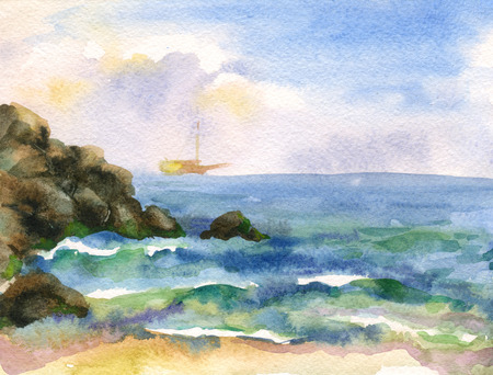 Watercolor image of sea waves and rocky shore