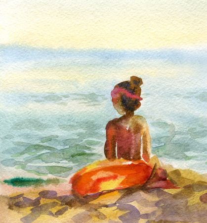 marina bay sand: Watercolor image of a girl on the beach
