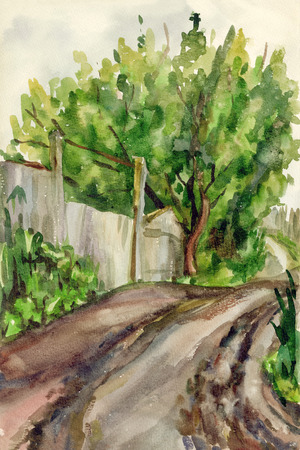 Watercolor sketch from the village road Stock Photo