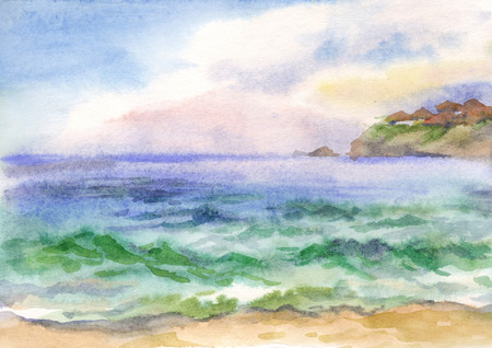 Watercolor background with the image of sea waves