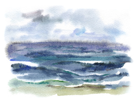 watercolor background with the image of a stormy sea