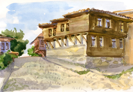 Watercolor sketch of an old wooden house of the Bulgarian Stock Photo