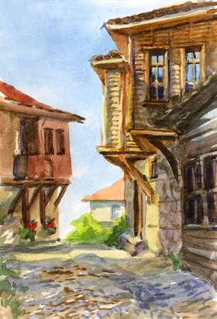 Watercolor sketch of an old wooden house of the Bulgarian photo
