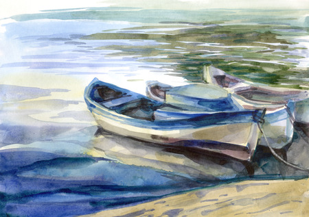 Watercolor seascape with boats and reflection