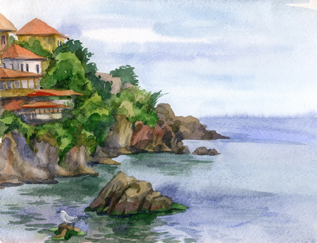 Watercolor image of the southern town near the sea