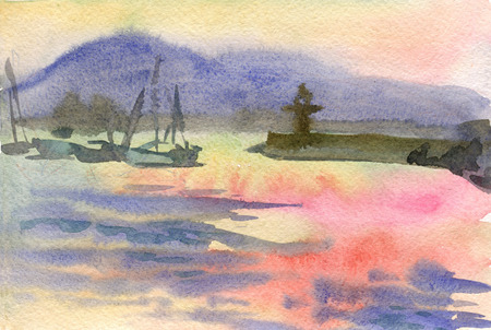deep south: Watercolor seascape with sunset and sailboats