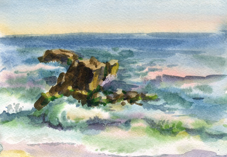 Watercolor image of the waves and the sea cliffs Stock Photo