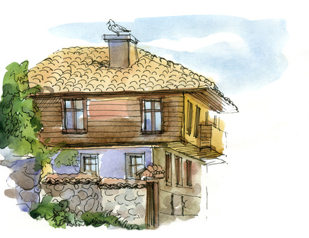 villa: Watercolor sketch southern landscape with tiled roofs Stock Photo