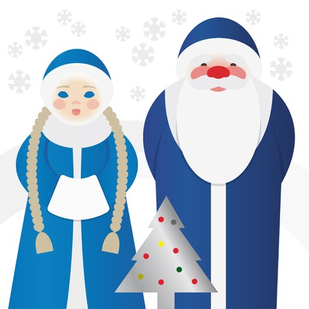 grandfather frost: Vector Jack Frost and his granddaughter Snegurochka