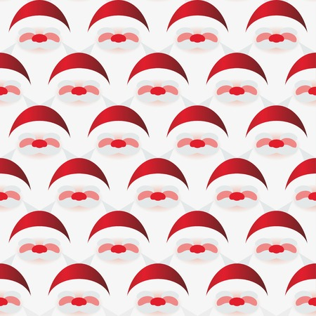 concise: Vector seamless pattern of Santa Claus on white
