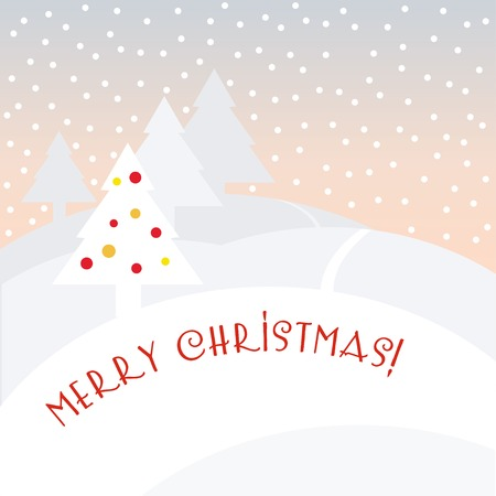 Image of a winter landscape with Christmas tree Illustration