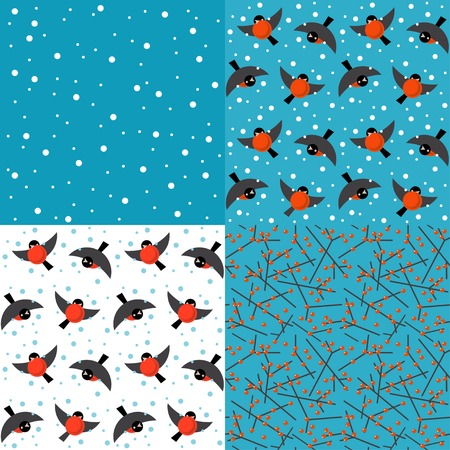 flit: Set of vector backgrounds with winter berries and bullfinches
