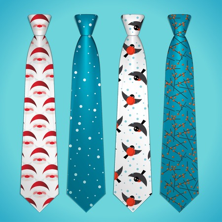 Vector set of elegant ties with Christmas prints Illustration