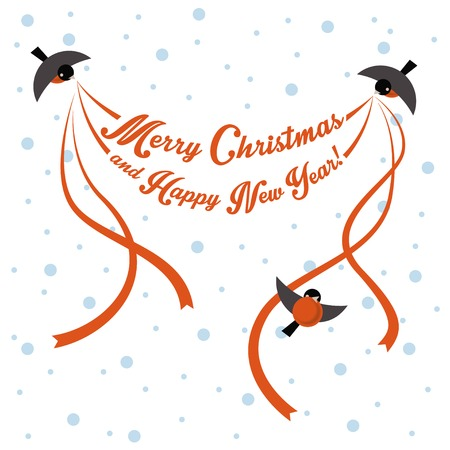 flit: Vector bullfinch carrying Christmas greeting with ribbons Illustration