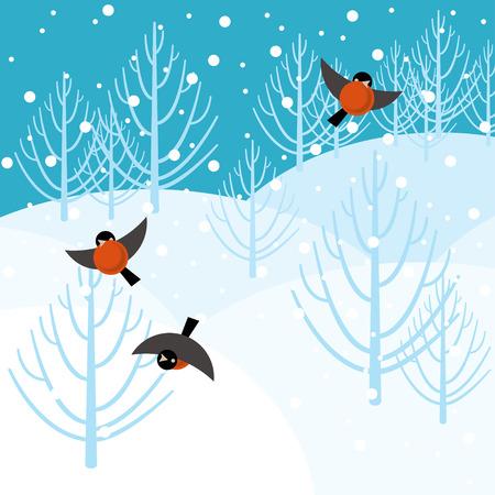 winter forest: Vector illustration bullfinch in the winter forest Illustration