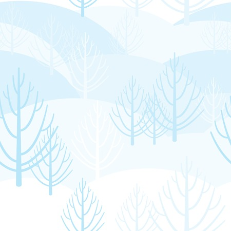 snow drifts: Vector seamless background with bright motifs winter forest