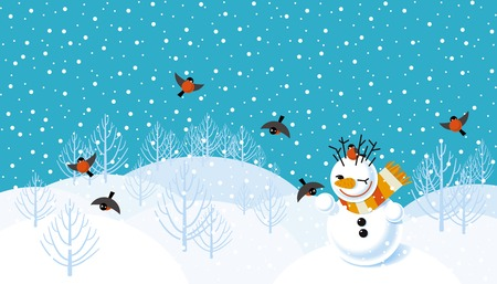 Vector winter landscape background with snowman and bullfinches Illustration