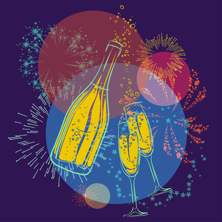 Vector bottle of champagne and glasses and fireworks Vector