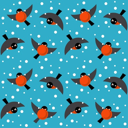 Vector seamless ornament bullfinches on blue background Vector