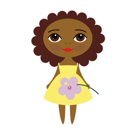 Vector cute dark-skinned girl with hibiscus flower Vector
