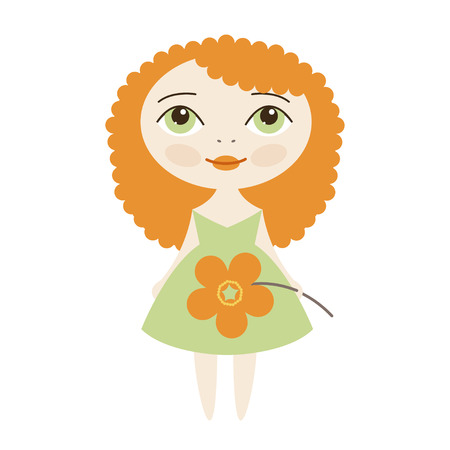 buttercup: Vector cute red-haired girl with flower buttercup