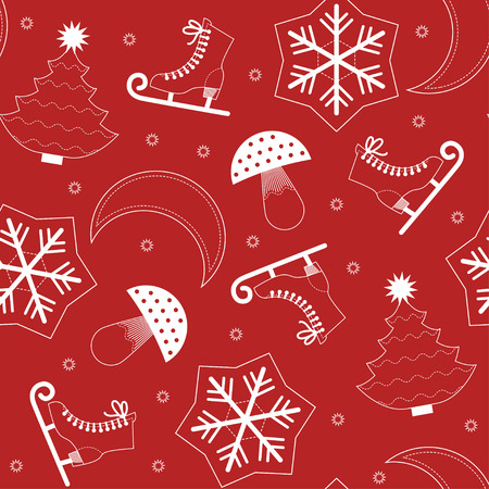Vector seamless pattern of red Christmas symbols Vector