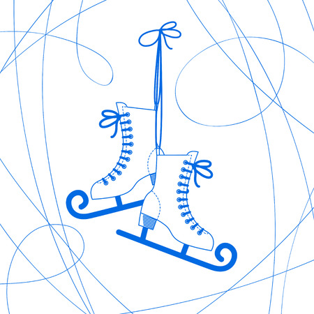 patinaje sobre hielo: Vector de imagen de un par de patines rizado Vectores