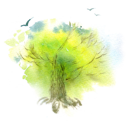 allegory painting: Watercolor illustration of a spring tree and birds