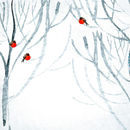 Watercolor winter park with bullfinches on branches Stock Photo