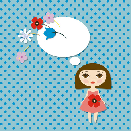 Vector Pretty girl with flower poppy Vector