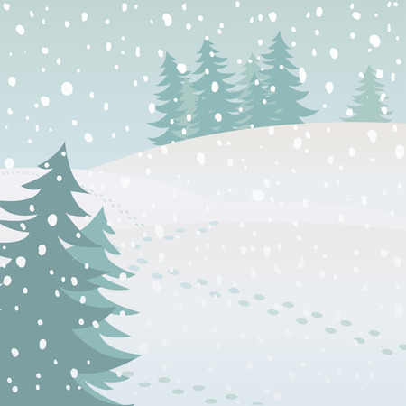 Vector winter landscape with fir trees and snow