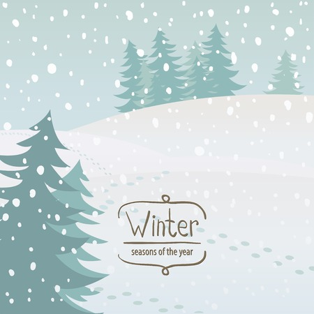 Vector illustration of the seasons, winter, snow