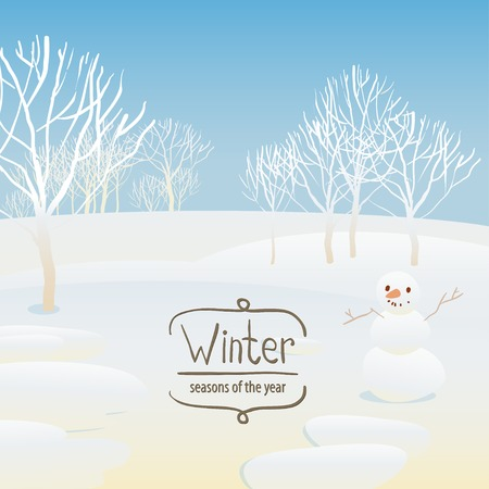 Vector illustration of the seasons, winter, snowman Vector