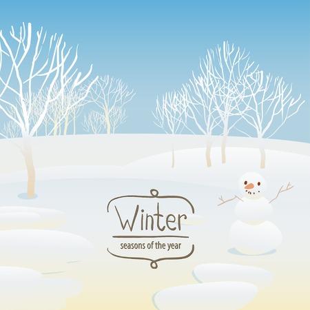 Vector illustration of the seasons, winter, snowman