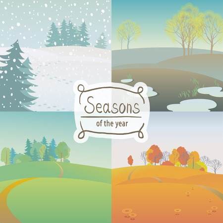Vector illustration set of of the four seasons