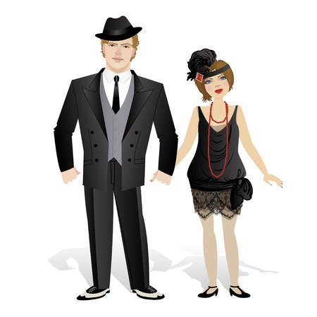 Vector illustration with a couple dressed in retro style