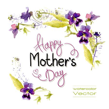 flores moradas: Saludos del d�a de la Madre. Vector acuarela. Roset�n de pensamientos Vectores